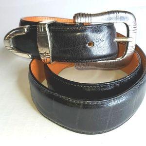 Onyx Crock Embossed Leather Belt size 32